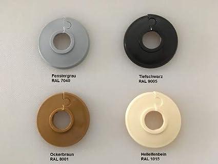 18mm Abdeckung f/ür Heizungsrohre schwarz /& eiche-T/öne 22mm Poly/äthylen in Sonderfarben: elfenbein- Einzel-Rosetten f/ür Heizungsrohre grau- Heizung 15mm 22 mm, RAL 1015 2 St/ück