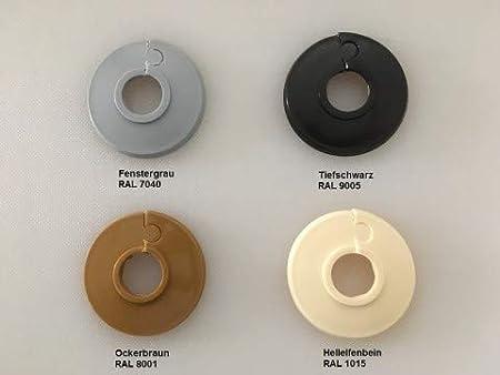grau- 22mm Poly/äthylen in Sonderfarben: elfenbein- 2 St/ück 18mm Heizung Abdeckung f/ür Heizungsrohre 15mm 15 mm, RAL 7040 schwarz /& eiche-T/öne Einzel-Rosetten f/ür Heizungsrohre