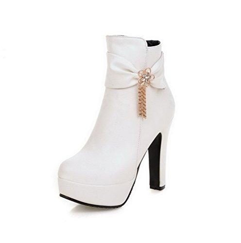 AgooLar Damen Hoher Absatz Rein Reißverschluss Stiefel mit Metalldekoration, Weiß, 35