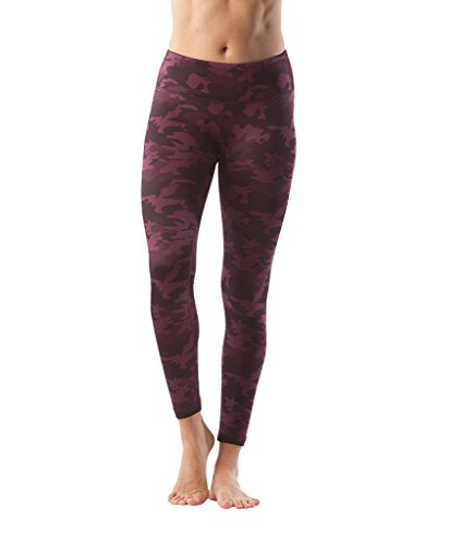 90 Degree By Reflex – Performance Activewear – Printed Yoga Leggings – Camo Merlot – Medium