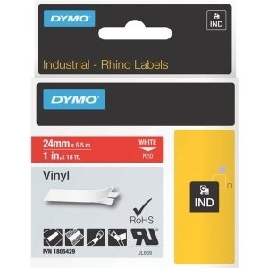 Dymo White on Red Color Coded Label - 134; Width x 18.04 ft Length - Vinyl - Thermal Transfer - Red - 1805429 ()