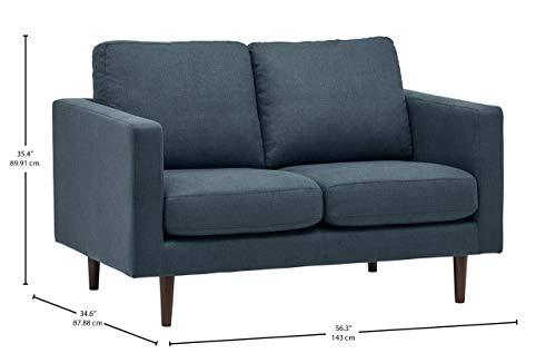 Rivet Revolve - Sofá biplaza, 143 cm de ancho (azul vaquero)