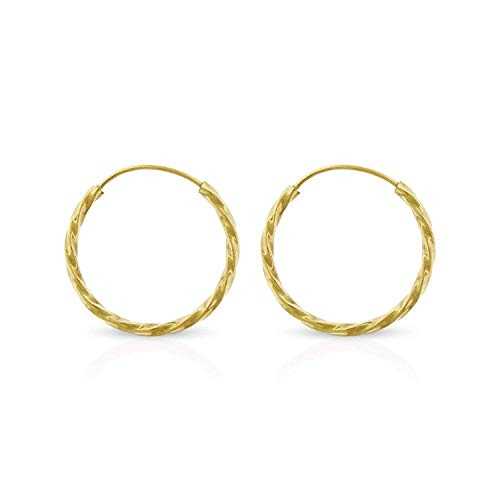 Elegant 14K Yellow Gold Endless Tube Hoop Spiral Twist Continuous Thin Light-Weight Round Earrings Sizes 10mm - 20mm