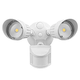 LEONLITE 20W Dual-Head Motion-Activated LED Outdoor Security Light with Photocell, ETL & DLC Listed, 3 Lighting Modes, 120W Equiv, 5000K Daylight, Waterproof, 5 Years Warranty, White