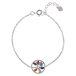 AK Jewels 925 Silver Round Tree with Evil Eye Bracelet For Women