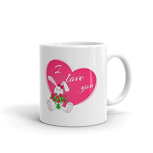 I love You Cute Little Bunny with Bouquet of Tulips Coffee Tea Ceramic Mug Office Work Cup Gift 15 oz