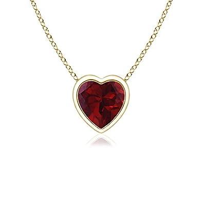 4mm Garnet Bezel-Set Solitaire Heart Garnet Pendant