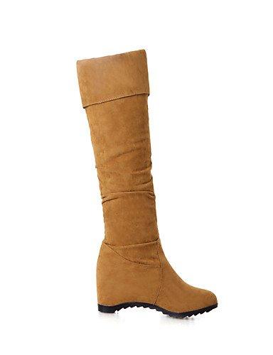 Vestido Botas Cuñas A Punta Brown Marrón Zapatos Cuña Tacón Cn39 us8 Mujer Redonda Eu39 Amarillo Xzz De Uk6 Vellón La Casual Moda Negro qzp7n8