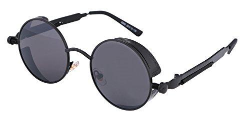 FEISEDY Retro Gothic Punk Metal Sunglasses Men Women - Sunglasses Steampunk Round