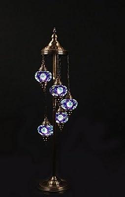 Chandelier, Floor Chandelier, Ceiling Lights, Turkish Lamps, Hanging Mosaic Lights, Pendant, Green Glass, Color Glass, Moroccan Lantern, 5 Lamps on Chandelier