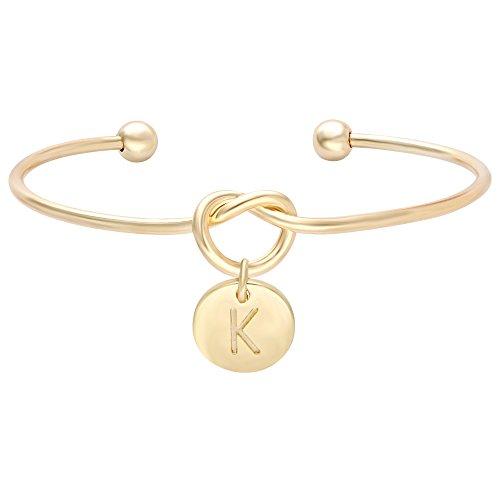 (SENFAI Tie The Knot Single Initial Alphabet Letters Personalized Charms Bracelet Bangle 10K Gold Plated)