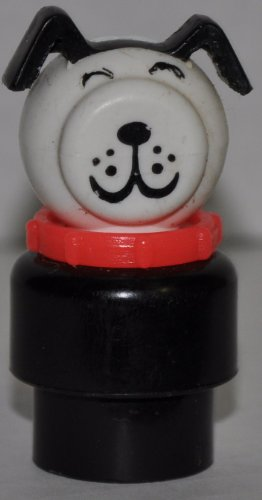 Vintage Little People Puppy Dog Doggie (Red Collar & Black Plastic Base) (Peg Style) - Replacement Figure - Classic Fisher Price Collectible Figures - Loose Out Of Package & Print (OOP) - Zoo Circus Ark Pet Castle