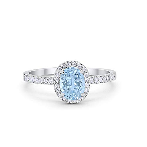 - Blue Apple Co. Halo Wedding Engagement Ring Oval Round Simulated Aquamarine Cubic Zirconia 925 Sterling Silver Size-6