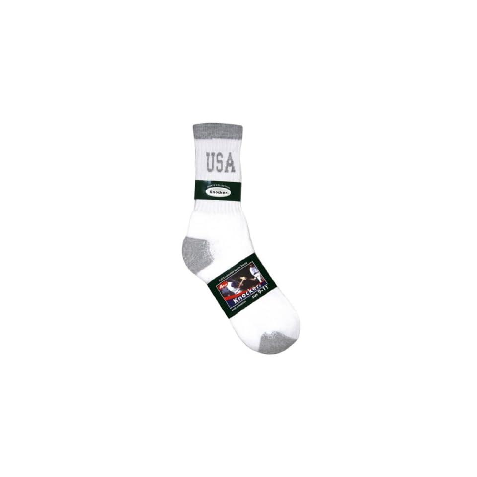 1 Pair Mens Crew Sports Socks Grey Heel & Toe with USA Logo, Size 10   13 inch