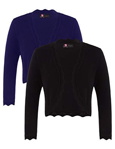 Cropped Short Sleeve Cardigan Dress Jacket for Women (XXXL,Black&Navy)