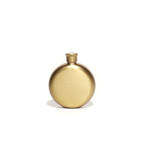 Izola Round Gold Flask Oval, Compact, and Stainless Steel - 3 oz - Gold