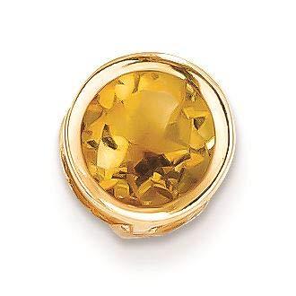 14K Yellow Gold 7 MM Citrine Solitaire Bezel Charm Pendant