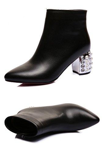 Qzunique Dames Dames Hoge Hakken Echt Leer Korte Laarzen Zachte Schoenen Met Glas Diamant Decor Zwart-1