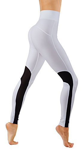 - CodeFit Yoga Power Flex Dry-Fit Workout Leggings Mesh Solid Color Print Pants (CF/YL602-White/B, S/M USA 0-6)