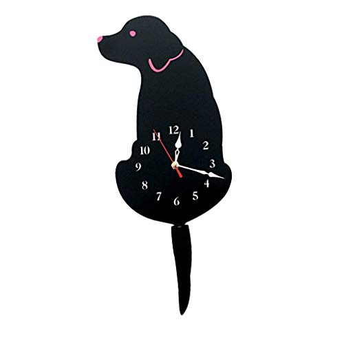 FRECI Acrylic Puppy Dog Wall Clock Tail Wag Swing Clock Home Decor Props Craft, Silent Sweep, Battery Powered - Black