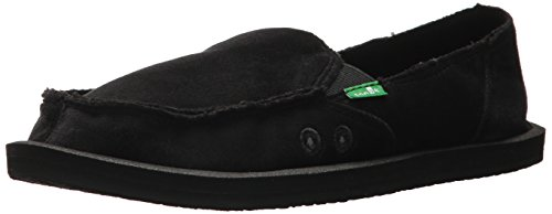 Mocassino Slip In Pelle Sanuk Donna In Velluto Nero