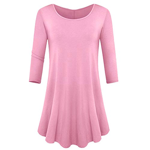 Sunhusing Women's Round Neck Solid Color Cropped Sleeve Pleated Hem Multicolor Pullover Tunic Tops ()