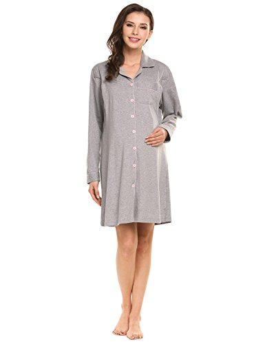 Ekouaer Women's Maternity Nursing Cotton Breastfeeding Nightgown Dress (Grey, S)