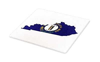Lunarable Kentucky Cutting Board, Map with Flag of Bluegrass State United We Stand Divided We Fall Motto, Decorative Tempered Glass Cutting and Serving Board, Large Size, Cobalt Blue Multicolor