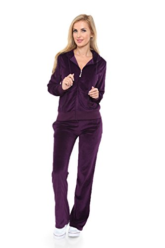 Womens Comfortable and Stylish Velour 2 Piece Tracksuit Set Medium Purple -