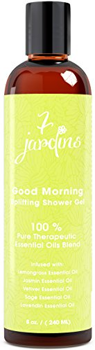(7 Jardins Good Morning Bath and Shower Gel - Uplifting, Mood Boosting, Natural Aromatherapy  Enriched with Lemongrass, Jasmine, Vetiver, Sage and Lavendin Essential Oils. 100% Safe and Sulfate Free)