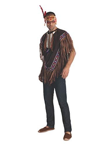 Rubie's Heroes And Hombres Men's Native American Costume Poncho, Brown, ()