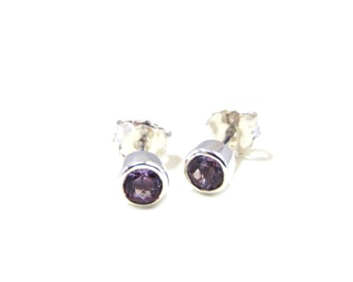 Round Amethyst Bezel (ZilverPassion Sterling Silver Round 4mm Facet Amethyst Stud Earrings, Bezel Setting, February)