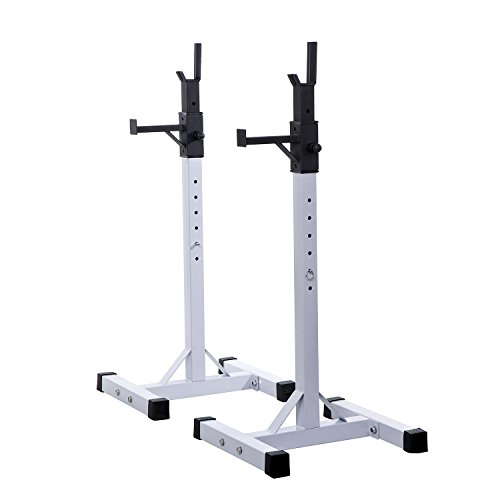 HOMCOM Heavy Duty Weights Barbell Squat Stand Adjustable Stable 2 Bars Holder Weight Liftting Stand Fitness Home GYM