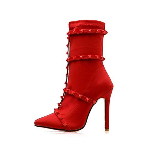 T-JULY New Sexy Rivet Women Boots Mid Calf Boots Red Black Belt Buckle Stiletto Women Pumps Ladies Shoes Size 5.5-9.5