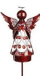 Filigree Angel with Heart Garden Stake, Red Color by GSTX
