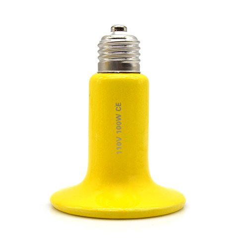 Ceramic Heat Lamp Infrared light Bulb for Brooder Coop Pet Yellow (100W 110V, 8cm) (Lightbulb Heater compare prices)