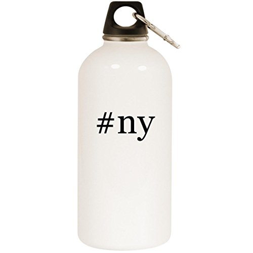 Molandra Products #ny - White Hashtag 20oz Stainless Steel Water Bottle with Carabiner