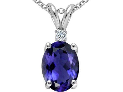 Tommaso Design Oval 8x6mm Genuine Iolite Pendant Necklace 10 kt White Gold ()