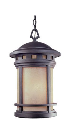 Oil Rubbed Bronze w/amber 3 Light 11in. Cast Aluminum Hanging Lantern from the Sedona Collection