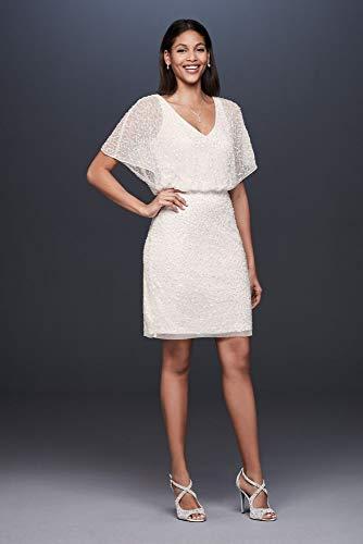 David's Bridal Short Sequin V-Neck Dress with Blouson Bodice Style MD2E202200, Soft White, 8