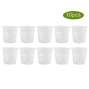 10pcs/Set Garden Net Cups Pots Durable Plastic Plant Nursery Germination Pots Bucket Basket for Hydroponics Garden…
