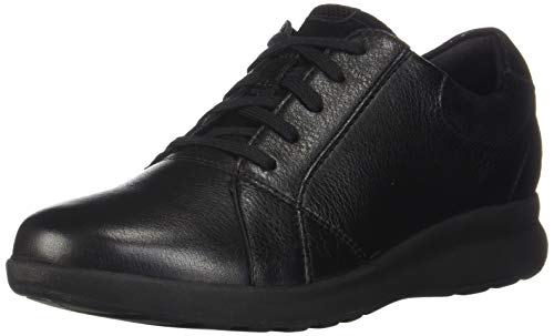 Clarks Women's Un Adorn Lace Sneaker, Black Leather/Suede Combi (Lace Shoes Oxford)