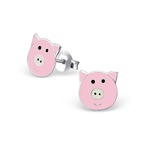 Girls 925 Sterling Silver Pig Face Colorful Ear Studs With Epoxy