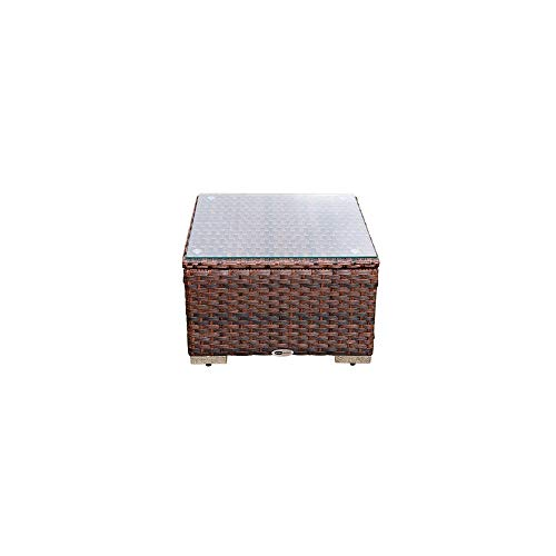 DIMAR garden Outdoor Coffee Table with Tempered Glass Top Wicker Sectional Patio Furniture Conversation Sets Rattan Small Table (Mix Brown) (Glass Garden Table Top Rattan)