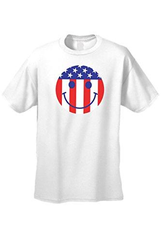 nisex Smiley Face USA Flag Short Sleeve T-Shirt White (Large) ()
