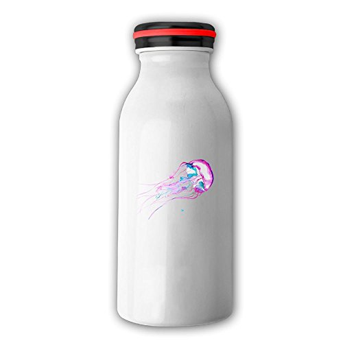 Watercolor Jelly Fish Stainless Steel Vacuum Insulated Water Bottle Leak-proof Double Walled Milk Bottle Mini Travel Milk Bottle With Cap, 12 OZ(350 Ml) White
