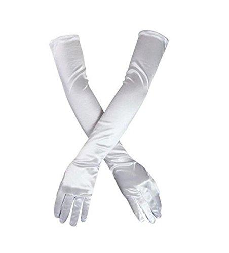 Elbow Length Satin Fingerless Gloves - Poetic Bridal TANGFUTI Women's Wedding Gloves for Bride Fingerless Long Satin Elbow Length Gloves 062WE