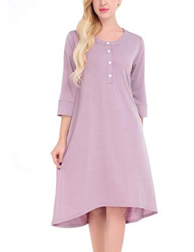 FISOUL Women's High Low Loose Fit Casual Tunic Tee Shirt Dress (Purple & Gray,S) by FISOUL