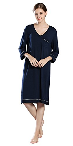 iooho Women's Sleepwear Cotton Sleep Tee 3/4 Sleeves Sleep Shirt Womens (3/4 Sleeve Nightshirt)