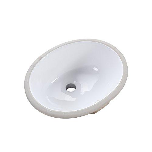 Lordear 16.5'' Modern Pure White Oval Undermount Sink Porcelain Ceramic Lavatory Vanity Bathroom (Oval Undermount Lavatory Sink)